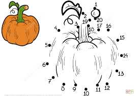 pumpkin dot to dot free printable coloring pages