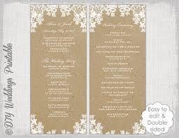 tea length wedding programs templates free rustic wedding program template rustic lace diy ecru kraft order