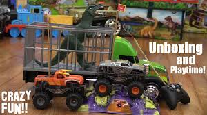 monster truck jam videos youtube remote control monster jam truck max d and a t rex dinosaur toy