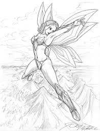 flying fairy outline cartoon