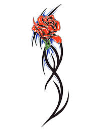 rose with tribal stem tattoo free design ideas
