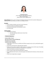 first job resume objective examples updated examples of resumes