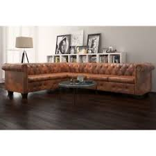 canapé d angle en cuir marron vidaxl canapé d angle de salon chesterfield 6 places cuir artificiel
