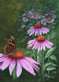 painting purple cone flowers u0026 butterfly florals u0026 through the