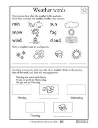 Kindergarten Weather Worksheets Kindergarten Writing Worksheets Weather Words Greatschools