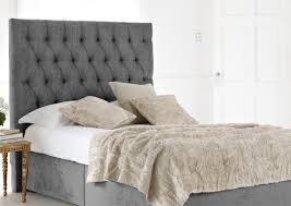 grey velvet tufted upholstered headboard for king size bed frame