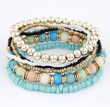 bead bracelet set images Chic light blue beaded stretchy bracelet set wholesale yiwuproducts jpg