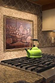 kitchen backsplash metal medallions bowl tiles fruit tiles set of 9 copper design accent tiles