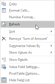 how to update pivot table update a pivot table in excel easy excel tutorial