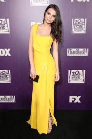 emily ratajkowski one shoulder yellow semi formal evening dress