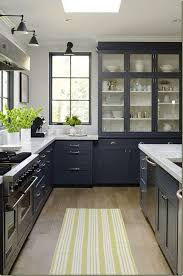Gray Kitchen Rugs Modern Gray Cabinets With Glass Door Yellow Striped Kitchen Rug