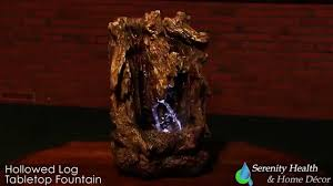 hollowed log tabletop fountain with lights 09100 youtube