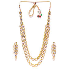 stone necklace set designs images Hornbill mart white color necklace set with earrings kundan jpg