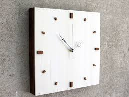 white wall clock wooden square clock silent clock