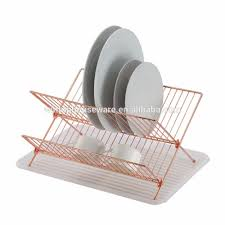 Dishes Rack Drainer X Shape Dish Rack Copper Plated Dish Holder Folding Dish Drainer