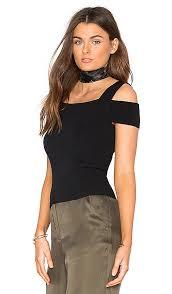 Autumn Cashmere Rib Drape Cardigan Autumn Cashmere Cold Shoulder Top Black Women Autumn Cashmere