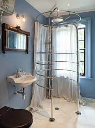 pretty shower stall curtains with rainfall shower head marble