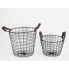 bathroom boxes baskets handled nordic style metal wire storage basket flowers waste paper