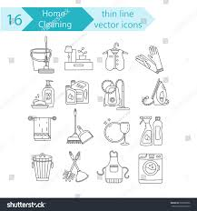 house cleaning thin line vector icon stock vector 662698996