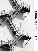 evacuation stairs evacuation staircase modern stock image