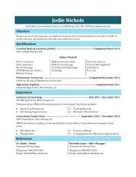 Free Medical Assistant Resume Template Resume Medical Office Assistant Resume Templates Student Template