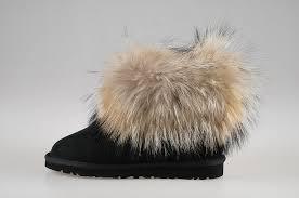womens ugg boots fox fur style ugg 5854 fox fur boots mini black boots