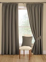 Bedroom Drapery Ideas Interior Modern Windows With Cushion Chair And Grey Curtain For