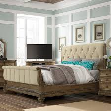 Pecan Bedroom Furniture Solid Wood Touraine Wood U0026 Upholstered Sleigh Bed In French Glazed Pecan