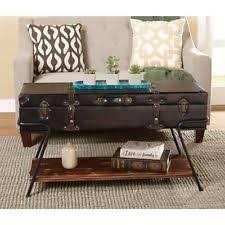 Suitcase Coffee Table Vintage Style Console Table Trunk Black Unique Entryway Storage