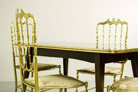 Italian Dining Room Sets Midcentury Italian Dining Set Of 4 Brass Chiavari Chairs And
