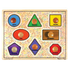 wooden puzzle doug large shapes jumbo knob wooden puzzle 8pc target