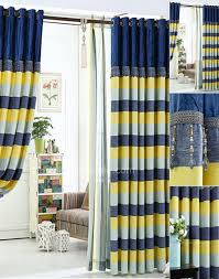Yellow And Blue Curtains Darkening Poly Cotton Blend Privacy Quality Striped Navy Blue And