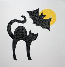 fabric applique iron on shapes black cat bat and moon