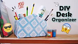 Pen Organizer For Desk Diy Desk Organizer Form A Shoe Box Pen Holder Youtube