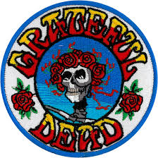 grateful dead gd skull and roses patch liquid blue