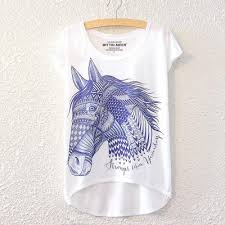 summer new graphic digital print short t shirt blouse loose ladies