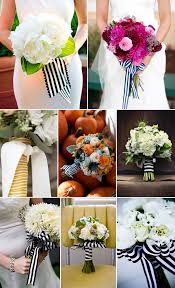 navy and white striped ribbon bouquets with striped ribbon