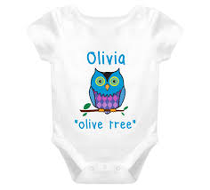 baby name onesie t shirt owl meaning olive tree