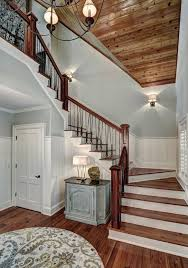 blooming tongue and groove with wood stair handrails in panel ceiling