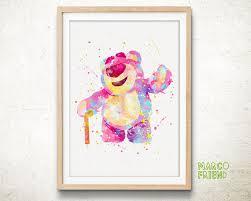disney toy story lotso teddy bear watercolor art poster print