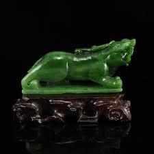 pixiu statue green hetian jade fortune pixiu statue