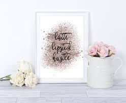 home decor latte lipstick hustle print boss motivational