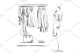 hand drawn wardrobe sketch clothes on the hangers mannequin in