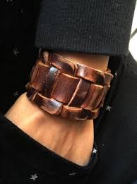 leather jewelry cuff bracelet images Antique men 39 s brown leather cuff bracelet leather wrist band jpg