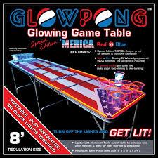 Beer Pong Table Size Glowpong U0027merica Glowing Game Table 8 Foot Regulation Size