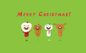 merry christmas santa claus deer snowman wallpaper