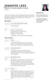 nanny resume exle resume sle for nanny pertamini co