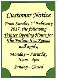 winter opening hours for the parlour tea rooms harleston cornucopia