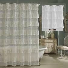 Ruffled Priscilla Curtains Priscilla Layered Ruffled Lace Shower Curtain