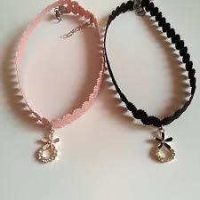 pendant choker necklace images Pink black flower pendant choker necklace sp1811905 spreepicky jpg